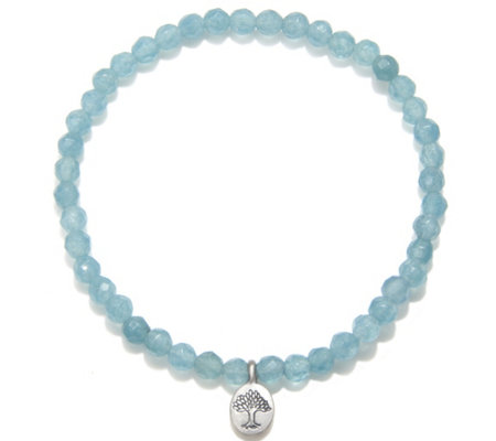 Satya 3.5mm Gemstone Bead Stretch Bracelet, Sterling