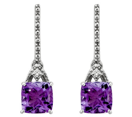 Sterling Cushion-Cut Gemstone & Diamond AccentEarrings