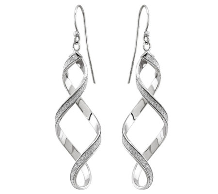 14K White Gold Glitter-Infused Figure-Eight Earrings