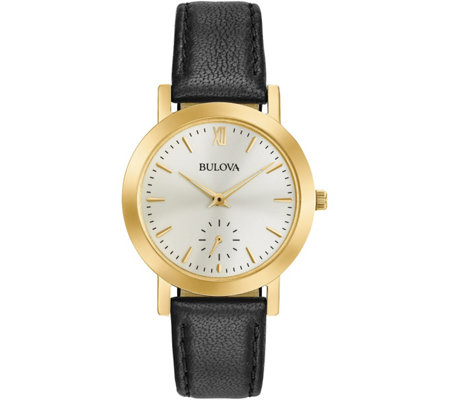 Bulova Ladies' Black Leather Strap Watch
