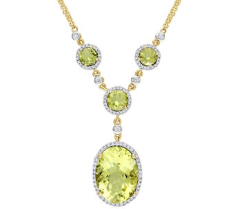 9.65 cttw Lemon Quartz & 4/10 cttw Diamond Necklace, 14K - J344073