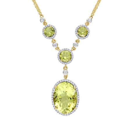 9.65 cttw Lemon Quartz & 4/10 cttw Diamond Necklace, 14K