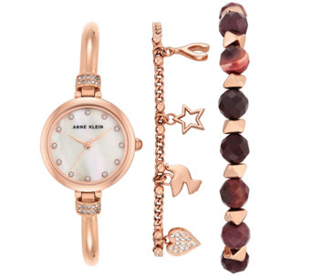 Anne Klein Women's Rosetone Watch and BraceletSet - J344773