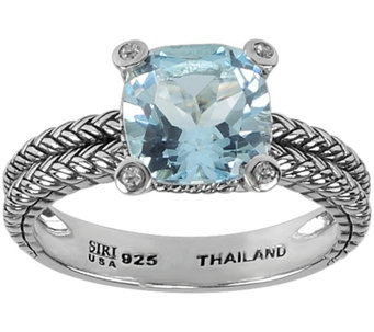 2.40 ct Blue Topaz and White Topaz Accent Ring,Sterling - J344973