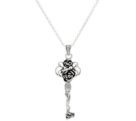 Or Paz Sterling Silver Rose Key Pendant with Chain