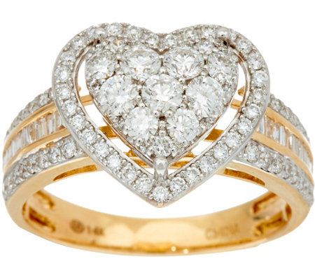 100 cttw heart cluster diamond ring 14k gold by affinity - Qvc Wedding Rings