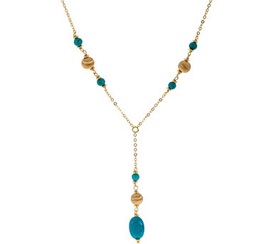 "Italian Silver Turquoise Drop Lariat 24"" Necklace Sterling - J347773"