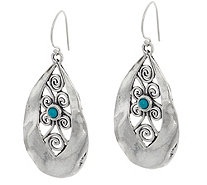 Or Paz Sterling Silver Lace Design Pear Shaped Dangle Earrings - J349073