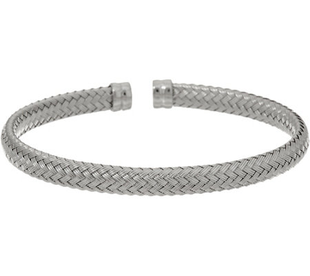 Italian Silver Stella Collection Woven Cuff Sterling, 10.6g