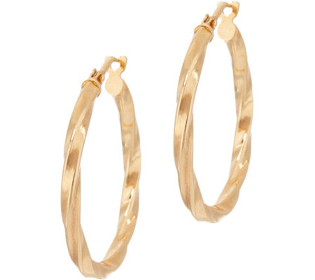 "Bronze 1"" Twisted Round Hoop Earrings by Bronzo Italia"