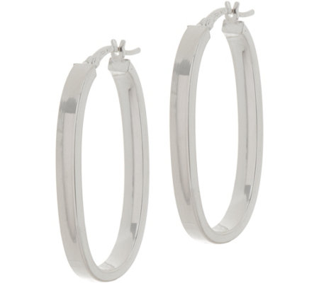 "Sterling Silver 1-1/2"" Elongated Oval Hoop Earrings by Silver Style"