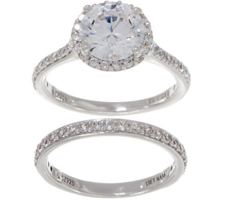 Diamonique Round Halo Two Piece Ring Set, Platinum Plated