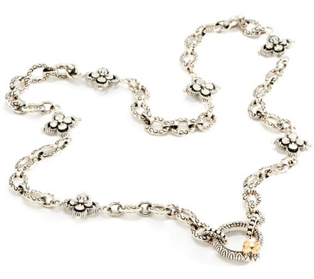 "Barbara Bixby Sterling & 18K Floral Chain 19-1/2"" Necklace"