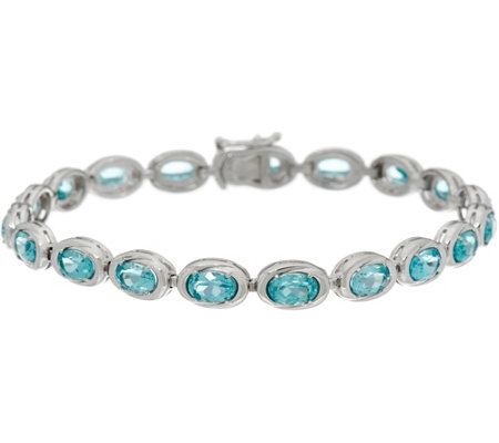 """As Is"" Teal Blue Apatite Sterling Silver 8"" Tennis Bracelet"