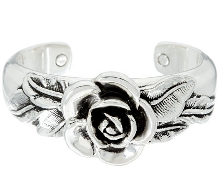 """As Is"" Or Paz Sterling Silver Bold Rose Cuff"