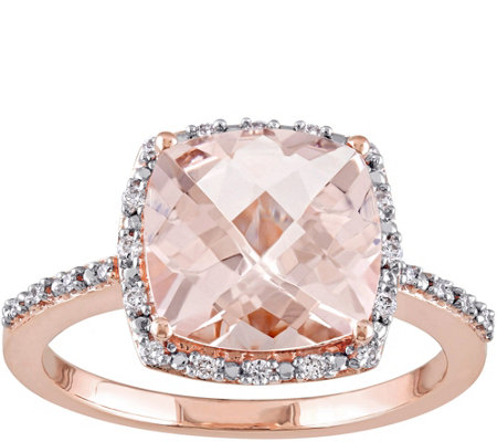 3 ct Morganite & 1/10 cttw Diamond Ring, 14K Rose Gold