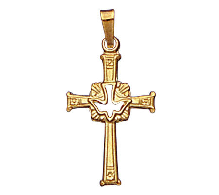 14K Cross Pendant With Holy Spirit Dove