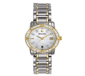 Bulova Ladies 34-Diamond Stainless Steel Bracelet Watch - J108374