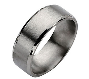 Titanium Beveled Edge 8mm Satin and Polished Ring - J109974