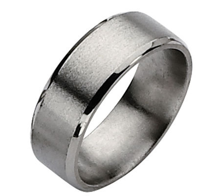 Titanium Beveled Edge 8mm Satin and Polished Ring