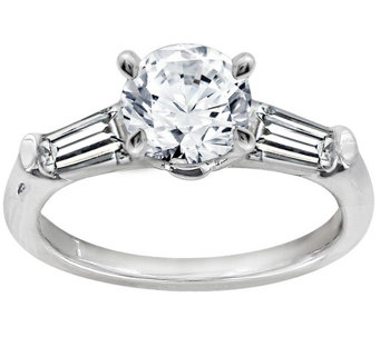 Diamonique 1.50 cttw Round & Baguette Ring, Platinum Clad - J111674