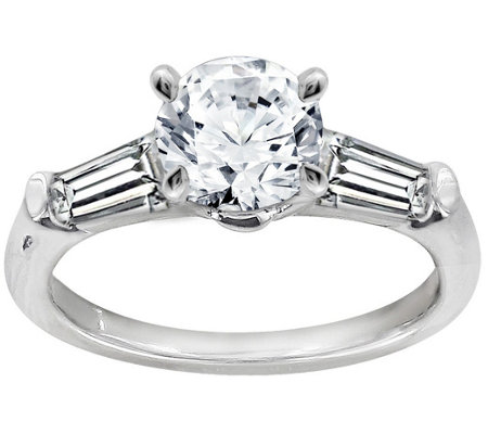 Diamonique 1.50 cttw Round & Baguette Ring, Platinum Clad