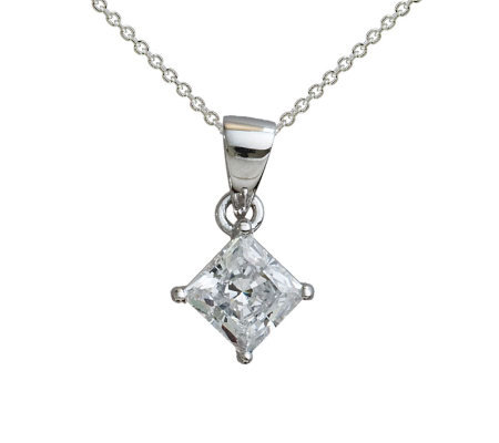 Diamonique 1.00 cttw Princess Cut Pendant, Platinum Clad
