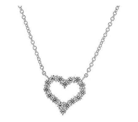 Diamonique Necklace w/ Open Heart Pendant, Platinum Clad