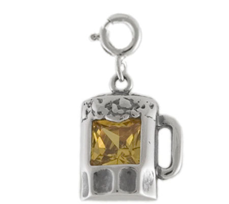 Sterling Beer Mug Charm with Yellow Cubic Zirconia Accent