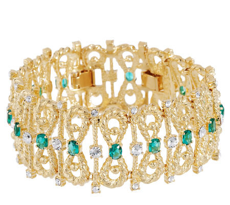 Jacqueline Kennedy Simulated Emerald Bow- Tie Bracelet