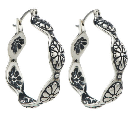"American West Concho Motif Sterling 1-1/4"" Hoop Earrings"