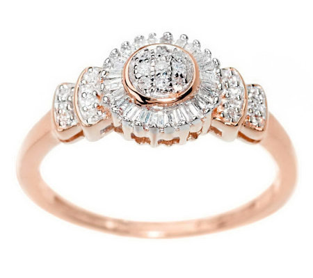 Baguette and Round Diamond Ring, 14K Gold 1/5 cttw, by Affinity
