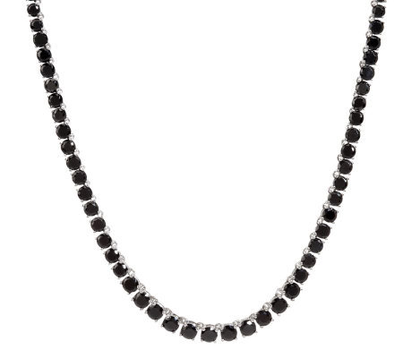"28.50 ct tw Black Spinel 20"" Graduated Sterling Tennis Necklace"