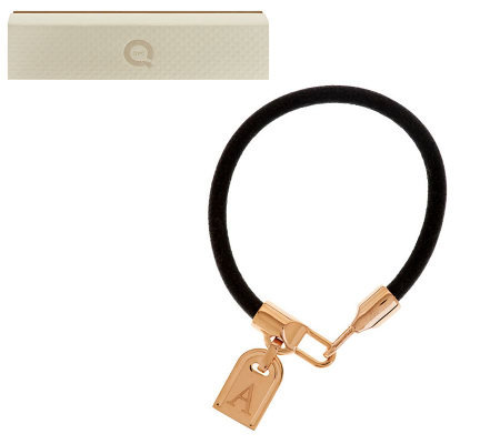 Rose Bronze Initial Tag Leather Bracelet by Bronzo Italia