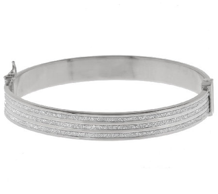 """As Is"" Italian Silver Sterling Avg. Triple Row Pave' Bangle"