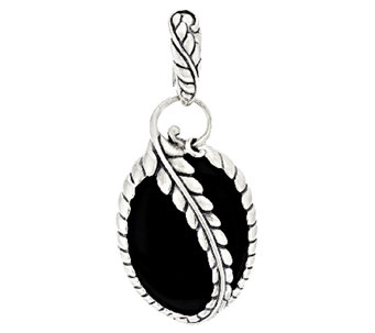 American West Onyx Leaf Design Sterling Enhancer - J294974