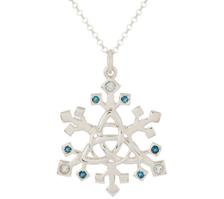 JMH Jewellery Sterling Silver and Blue Topaz Snowflake Pendant