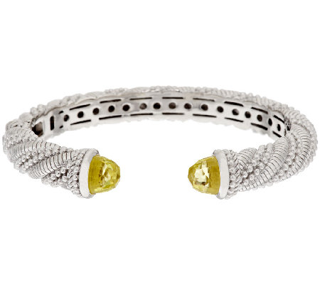 Judith Ripka Sterling 6.50 ct tw Limon Quartz Hinged Cuff
