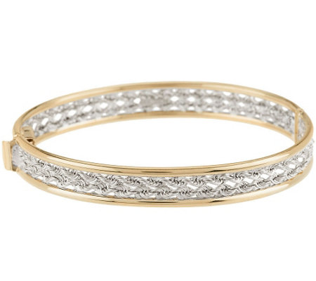 14K Gold Average Woven Rope Oval Hinged Bangle, 8.0g