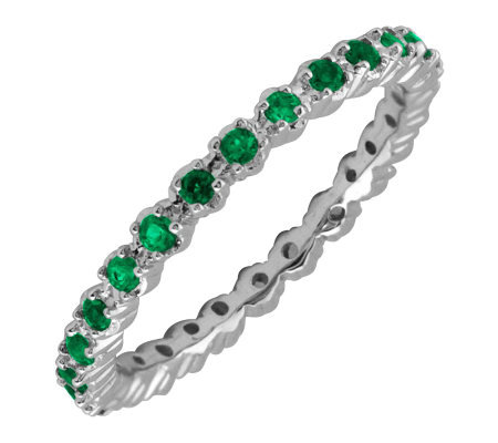 Simply Stacks Sterling Prong-Set Emerald Stackable Ring