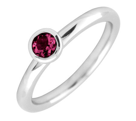 Simply Stacks Sterling 4mm Round Created Ruby Solitaire Ring