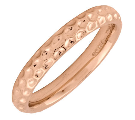 Simply Stacks Sterling 18K Rose Gold-Plated Dimple 3.25mm Ring