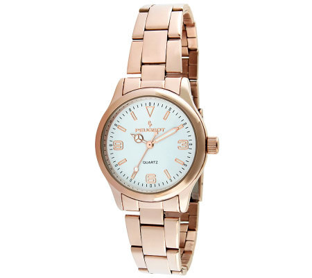 Peugeot Women's Rose Goldtone Bracelet Link Watch