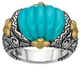 Barbara Bixby Sterling & 18K Yellow Gold CarvedTurquoise Ring - J308474