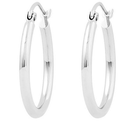 "Polished 3/4"" Round Hoop Earrings, 14K"