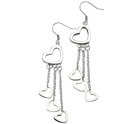 Stainless Steel Polished Open Hearts Dangle Earrings