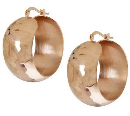 "Bronze 1-1/4"" Bold Round Hoop Earrings byBronzo Italia"
