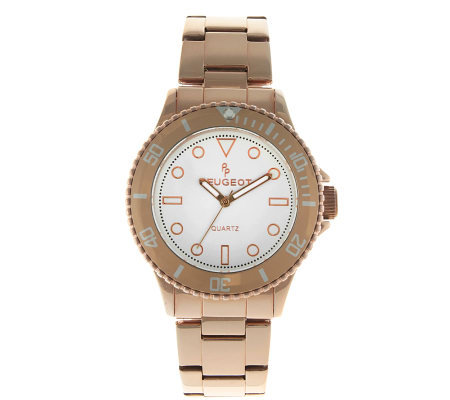 Peugeot Women's Rosetone Ratchet Bezel Watch