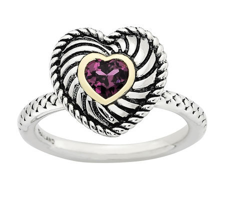Simply Stacks Sterling Two-Tone Rhodolite Garnet Heart Ring