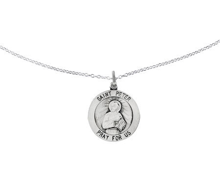 "Sterling Saint Peter Round Solid Pendant w/ 18""Chain"